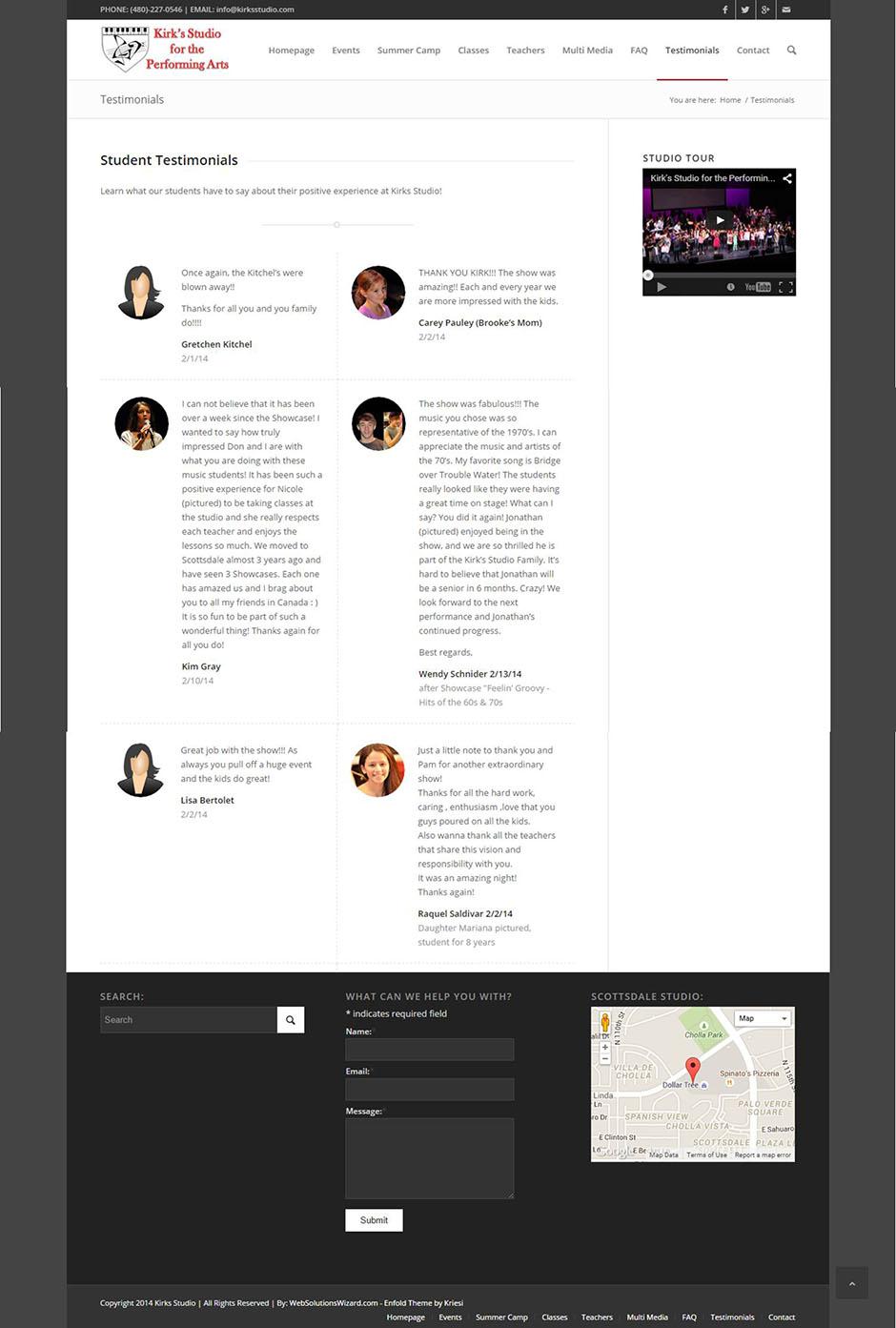 Kirks Studio Testimonial Page